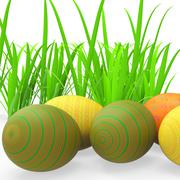 easter eggs indicating green grass and pasture - stock illustration
