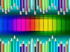 Pencils education representing learned educate and colours Stock Illustration