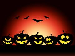 Stock Illustration of pumpkin bats showing trick or treat and halloween icons