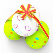 Easter eggs showing bow backdrop and backgrounds Stock Illustration