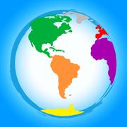 global colourful showing globally globe and globalise - stock illustration