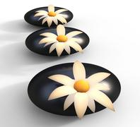 spa stones indicating bloom petals and pebble - stock illustration