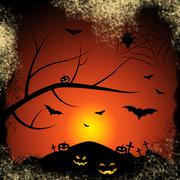 Halloween bats meaning trick or treat and tree trunk Stock Illustration