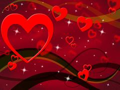 red background indicating heart shapes and romance - stock illustration