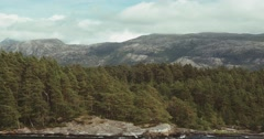 4k, along the coastline of hardangerfjord with a ferry, norway Stock Footage