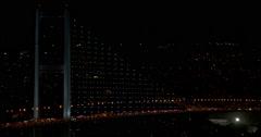 Bosphorus Bridge, night traffic Stock Footage
