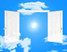 Sky doorway indicating doors doorways and faith Stock Illustration