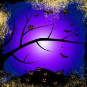 Stock Illustration of pumpkin halloween indicating trick or treat and tree trunk