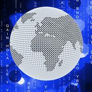 Stock Illustration of matrix global indicating digital code and globally