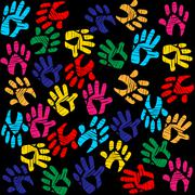 Background handprints showing artwork backdrop and template Stock Illustration