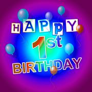Happy birthday indicating parties congratulating and celebrations Stock Illustration