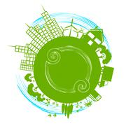 world city indicating earth day and globalise - stock illustration