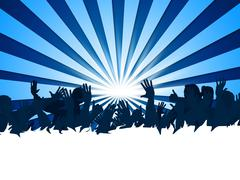 concert festival showing group of people and audience spectators - stock illustration