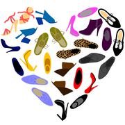 shoes in shape of heart - stock illustration