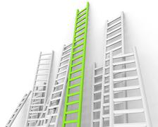 ladders obstacle showing conquering adversity and challenge - stock illustration