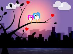 Night city meaning downtown bird and metropolis Stock Illustration