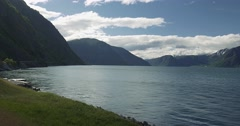4k, beautiful pan along the sognefjord, norway Stock Footage