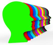 Heads variation representing team work and group Stock Illustration