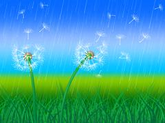 dandelion grass representing wildflower outdoor and grassy - stock illustration