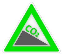 Warning co2 representing greenhouse effect and emission Stock Illustration