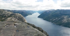 4k, epic preikestolen pan, norway Stock Footage