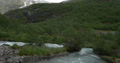 4k, brikdalsbreen river, norway Stock Footage