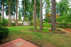 counryside house backyard with trees - stock photo