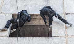 Tactical rappeling Stock Photos