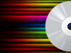 cd background shows compact disc and colorful beams. - stock illustration