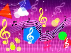 Music background shows pop rock and instruments. Stock Illustration