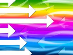multicolored arrows background shows colorful and direction. - stock illustration