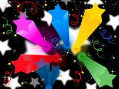 stars streamers background means celestial colors and party. - stock illustration