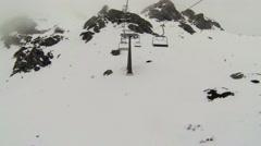 Chair lift in a ski resort in Austrian Obertauern Stock Footage