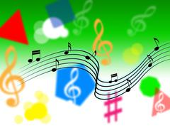 Music background shows melody piece or singing. Stock Illustration