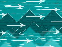 Spikes arrows background means internet and information highway. Stock Illustration