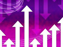 Purple arrows background means curves and direction. Stock Illustration