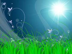 floral horizon background means environmental care or clear scene. - stock illustration