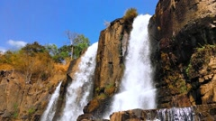 Waterfall cascades in high mountains of Vietnam Stock Footage