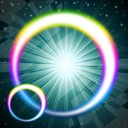 Stock Illustration of rainbow circles background means colorful round and brilliant star.