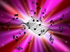 Pink music background shows musical instruments and brightness. Piirros