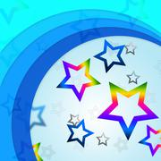 Star curves background shows curvy lines and rainbow stars. Stock Illustration