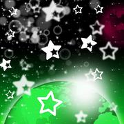 green planet background shows stars and celestial bodies. - stock illustration