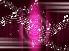Purple music background means melody and tune. Stock Illustration