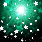 Green sky background shows radiance stars and heavens. Stock Illustration