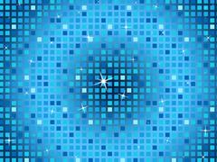 Stock Illustration of blue squares background shows light glinting and celebration.