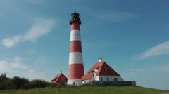 Westerhever lighthouse, Schleswig-Holstein, Germany Stock Footage
