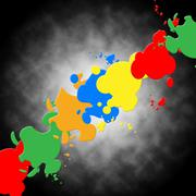 Grey paint background means colorful art and splatters. Piirros