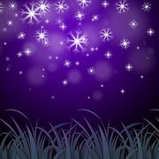 snowflakes purple background shows wintertime wallpaper or ice pattern. - stock illustration