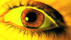 Eye Close Up Yellow VJ Loop On The Beat - stock footage