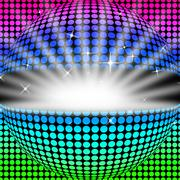 Disco ball background shows glowing colorful and clubbing. Stock Illustration